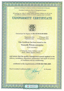ISO 9001 Certificate Termofly 2